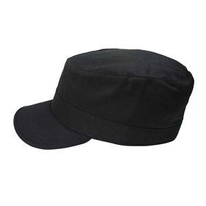 Castro-Military-Black-Army-Cadet-Cap-Hat-Rasta-Rastafari-Urban-100-Cotton-ARMY