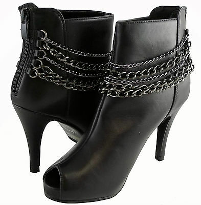 New Women Boots Fashion Booties Sexy Chain Design High Heels Faux Leather Shoes