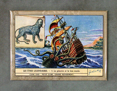 MONSTER OCTOPUS & SEA LION Magnet, Art from Antique Trade/Advertising Card