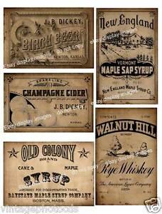 Primitive Pantry Bottle / Jar Labels FH141 Set of four vintage ...