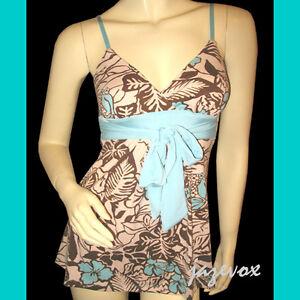 NEW-Womens-Cream-Spaghetti-TOP-Aqua-Blue-Brown-Hawaiian-Floral-Prints-Jr-S-M-L