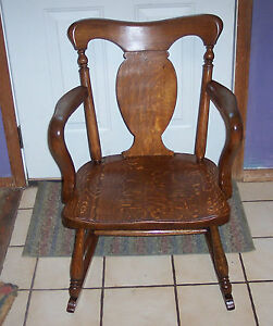 Ladies-039-Quartersawn-Oak-Empire-Rocker-Rocking-Chair-R46
