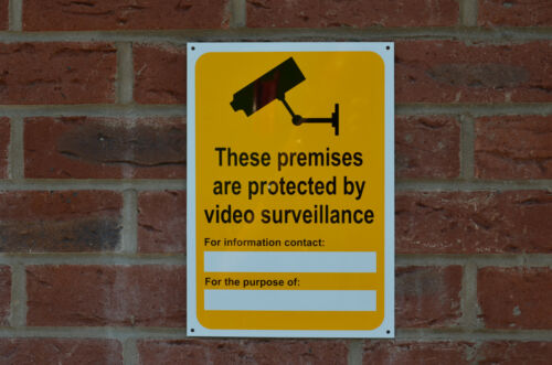 There Premises Protected Video Surveillance CCTV Sticker Plastic Sign 210x297mm