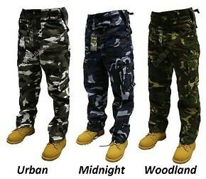 """NEW!!! MENS LADIES """"CAMO CAMOUFLAGE"""" ARMY MILITARY COMBATS CARGO TROUSERS PANTS"""