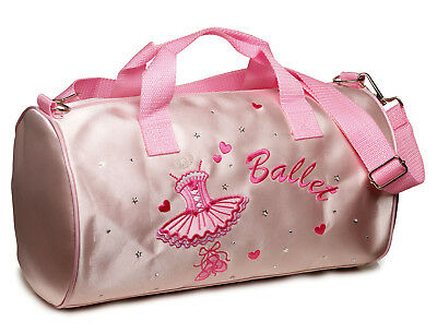 Girls Pink Satin Ballet Barrel Shoulder Dance Shoe Bag By Katz Dancewear SB8699