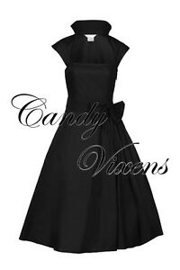 PIN-UP-VTG-40-039-S-50-039-S-ROCKABILLY-PROM-PARTY-SWING-BRIDESMAID-DRESS-RED-BLACK