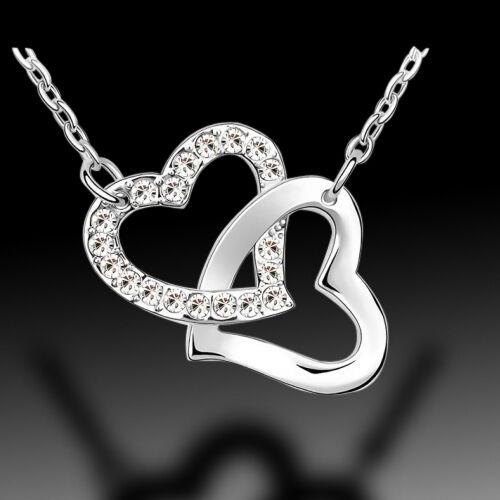 Silver 2 Love Heart 18k White Gold Plated Necklace Swarovski ELEMENTS Crystal AU