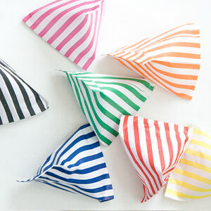 100-CANDY-STRIPE-PAPER-SWEET-GIFT-PARTY-BAGS-5x7-INCHES-CAKE-BAG-ALL-COLOURS