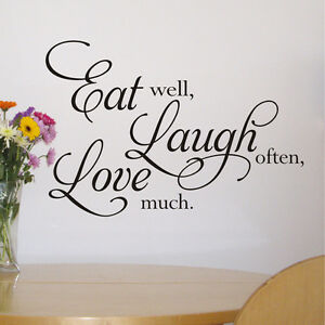 Image Is Loading EAT LAUGH LOVE Kitchen Wall Art Sticker Quote