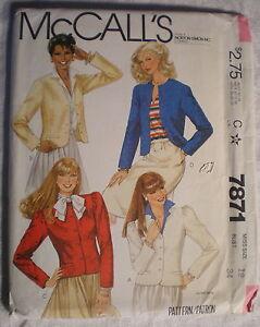 McCall-039-s-Women-039-s-Jacket-Pattern-7871-Size-12-1982