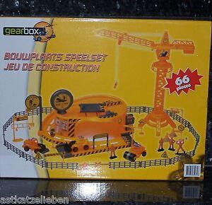 Baustellen-Spielsatz-66tlg-Baustellenfahrzeuge-Gearbox-Baustelle-mit-Figuren