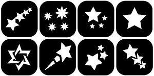 MINI-8-MIXED-STARS-TATTOO-STENCILS-7273-Glitter-Airbrush-Art-MULTIPACKS