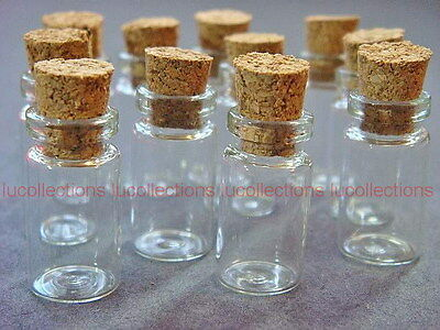 Lot of (50) 1ml Clear Glass Bottles with Corks Mini Bottles Vials 1ml-50