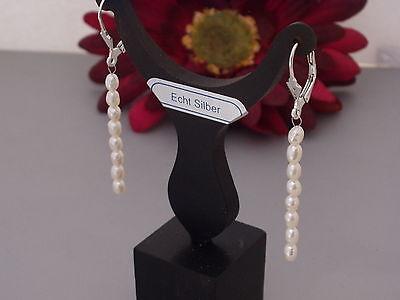 Echt 925 Silber Creolen Hänger Brisuren  Süßwasserperlen Ohrringe weiß Damen