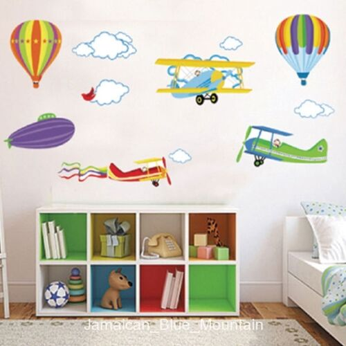 Hot Air Balloon Airplanes Clouds Sky Wall Sticker Decal