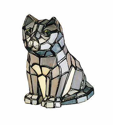 """Meyda Tiffany 7""""H Cat Tiffany Gray Stained Glass Accent Lamp"""