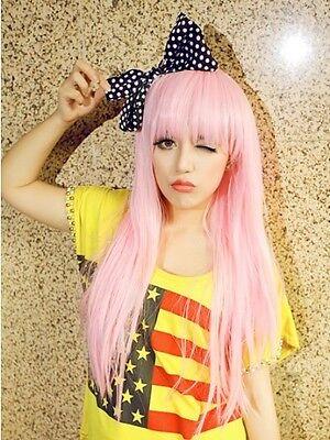 Girl women lady pink anime long full wig wigs Heat resistant hair fiber Cosplay