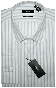 NWT-HUGO-BOSS-SATIN-WHITE-w-SILVER-GRAY-STRIPES-DRESS-SHIRT-16-34-35