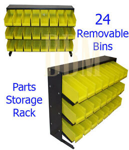 Parts-Accessories-Rack-Storage-Shelf-Organizer-Bench-Top-With-24-Removable-Bins