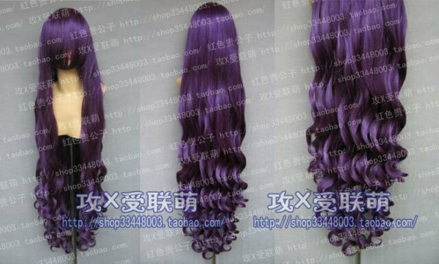 100 New Long Purple Black Cosplay Party Curly Wig 100cm