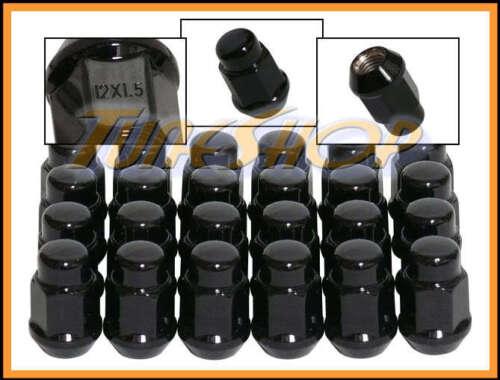 24 BULGE ACORN WHEELS RIMS LUG NUTS 12X1.5 M12 1.5 CLOSED END BLACK 19 HEX M