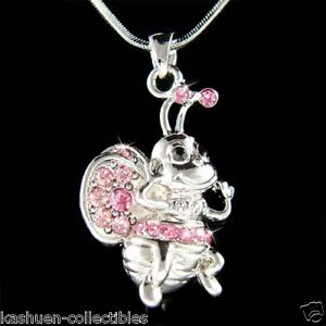 w-Swarovski-Crystal-Pink-Bumble-Bee-Honey-Insect-Keeper-Charm-Pendant-Necklace