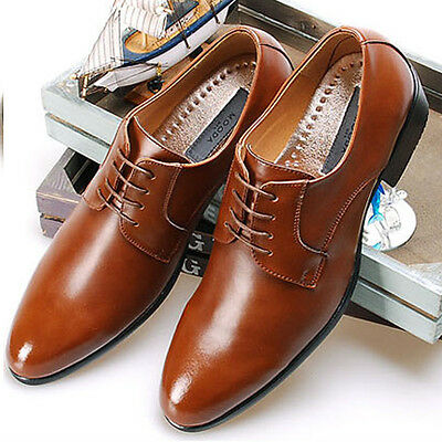 New Comfort Mens Dress Shoes Formal Lace up Oxfords Classic Leather Casual Brown