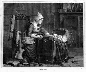 MOTHER-WITH-BABY-AND-CRADLE-ANXIOUS-TIMES-ANTIQUE-1871-BABY-ENGRAVING-FASHION