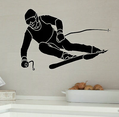 LARGE SKI SKIER CHILDRENS BEDROOM WALL STICKER NEW TRANSFER ART UK DESPATCH