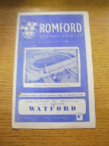 25111961 Romford v Watford FA Cup Punched Holes, m Change, Score Noted.