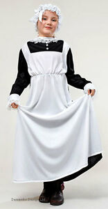 Victorian-Edwardian-Maid-Girls-Costume-History-Outfit-Dress-amp-Hat-New-6-8-9-12