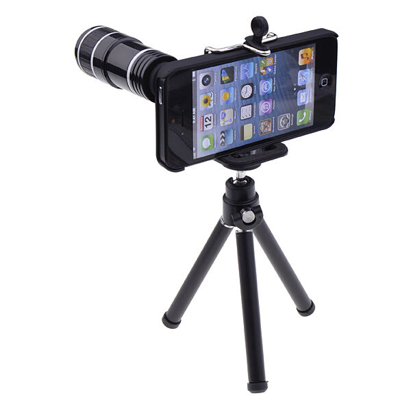 12X Optical Zoom Mobile Telescope Camera Lens + Tripod + Case For iPhone 5 5G