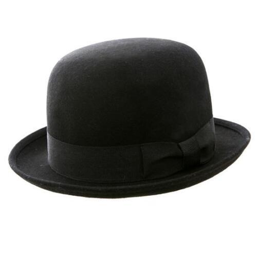 New Classic Round Top Black Wool Felt Bowler Hat