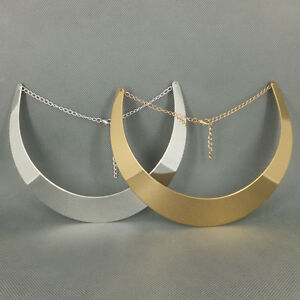 Ladies-Gold-Silver-tone-Curved-Mirrored-Metal-Choker-Collar-Mottled-Necklace