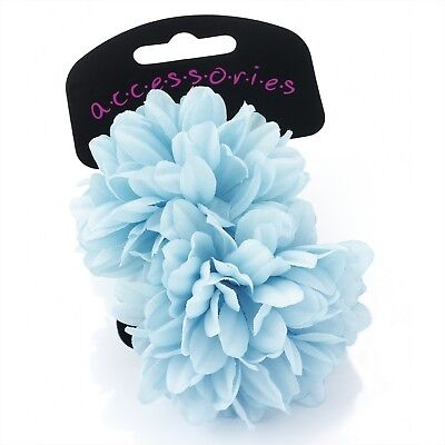 2pc FLOWER HAIR BAND ELASTIC BOBBLES PONIOS ALL COLOURS