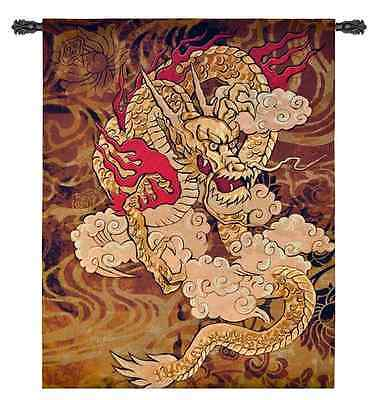 ASIAN CHINESE GOLDEN FIRE DRAGON ABSTRACT ART TAPESTRY WALL HANGING 53x67