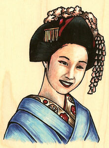 Asian-Elegant-Woman-Wood-Mounted-Rubber-Stamp-Stampabilities-New