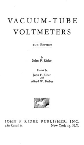VTVM - All About & How to Use - Vacuum Tube Voltmeters - John F. Rider - on CD