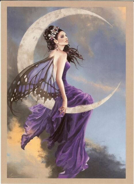 Nene Thomas Greeting Card AMETHYST MOON FAIRY PRINT