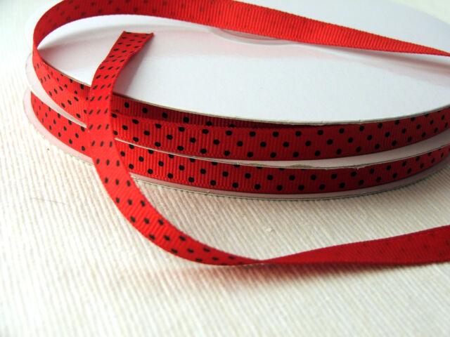 Swiss dot grosgrain ribbon 3/8th inch  - 2m lengths