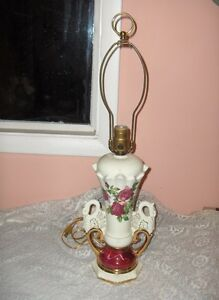 Vintage 1940 S China Lamp Ruby Roses Swan Handles Gold