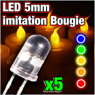 LED 5mm Candle , red,  yellow, blue, orange, green -- 5pcs