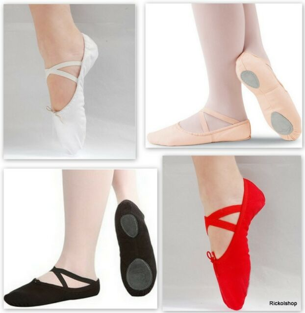 NEW Adult Womens Canvas Split Sole Ballet Slippers Shoes Pink Black White Red