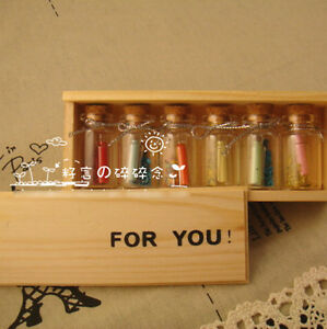 Message-in-a-Bottle-034-For-You-034-Wooden-Box-w-6-Glass-amp-6-Mini-Letter-Paper-Gift