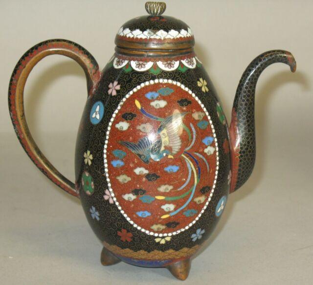 Fine Antique Meiji-era Japanese Cloisonne Teapot w/ Goldstone  c. 1890