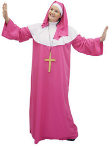 LONG-PINK-Fabulous-PLUS-SIZED-NUN-amp-CROSS-FANCY-DRESS-COSTUME-from-sizes-18-42