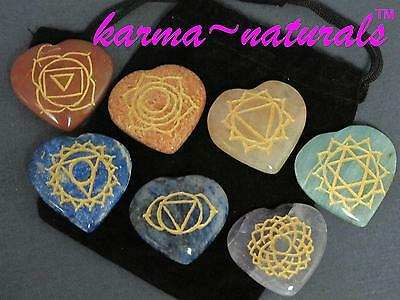 CHAKRA BALANCING Engraved 7 Heart STONES Set MIND BODY Reiki Meditation Healing