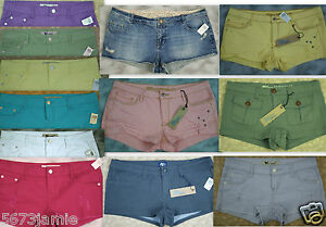 Wet-Seal-Blue-Asphalt-Womens-Sexy-Fray-Denim-Cotton-Destroyed-Mini-Shorts-Lot