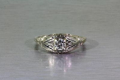 Antique 1920s .33ct VS G Diamond 14k White Gold Filigree Ring
