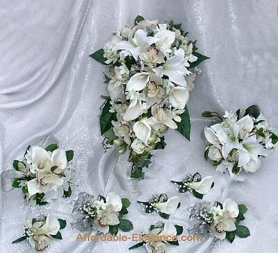 White Wine CALLA LILY Lilies Orchids BRIDAL BOUQUET Wedding Silk Flowers SET New
